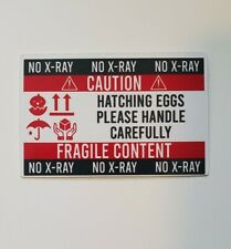 Hatching eggs please handle carefully NO X-RAY 60 square glossy stickers