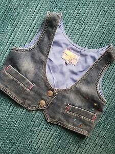 debenhams girl blue denim waiscoat vest 8-9 9 years