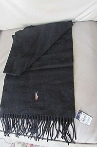 Polo Ralph Lauren Mens black Lambswool Neck Scarf Wool  Italy-new with tag-macys