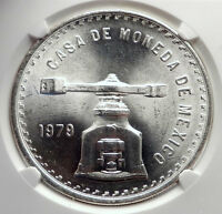 1979 MEXICO Huge Medallic 4.1cm SILVER Onza Mexican COIN PRESS Scales NGC i72137