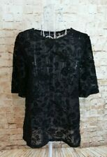 Dorothy Perkins Womens Top Size 12 Black Floral Short Sleeve Stretch Sheer