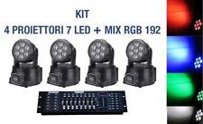 4 x PROIETTORE LED RGB TESTA MOBILE ROTANTE 7 LED WASH DMX + MIXER RGB DMX 192!!