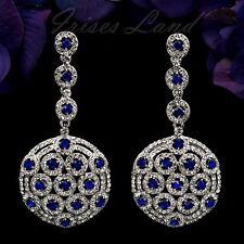 Rhodium Plated Blue Clear Crystal Rhinestone Drop Dangle Earrings 08769 Prom
