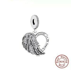 💖 Angel Wings Forever In My Heart Mum Dad  Charm Genuine 925 Sterling Silver 💖
