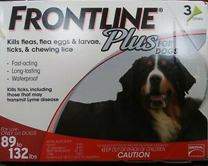 FRONTLINE Plus Flea & Tick 3 month Treatment for Dogs 89-132lbs