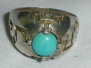 VINTAGE KABANA STERLING TURQUOISE ETCHED RING- SIZE 9 1/4!!