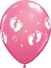 "Rose Baby Footprints & Hearts 11"" Latex Balloons 25pk  Baby Shower Balloons"
