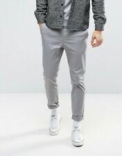 ASOS chino pantaloni slim W32 L32 grigio scuro grey gray
