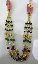 Vintage solid 22K Gold handmade jewelry gemstones Beads Chain necklace