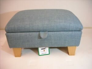 DUCK EGG BLUE LINEN LOOK FABRIC FOOTSTOOL WITH STORAGE solid beech legs