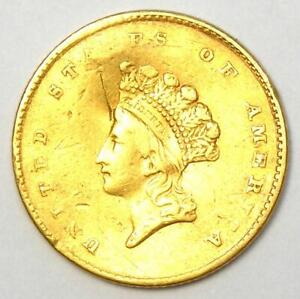 1854 Type 2 Indian Gold Dollar (G$1 Coin) - AU Details (Damage) - Rare Type Two!