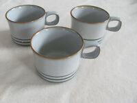 Denby-Langley Fjord Gray with Green Bands - Set of 3 Cups - No Saucers