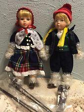 """Heritage Collection """"Erik and Eva"""" Porcelain Ski Dolls  # 80002 NRFB"""