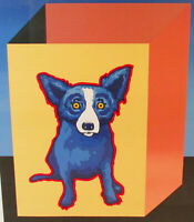 George Rodrigue Blue Dog Blue Label Framed Print Signed Numbered 4/50 Artwork