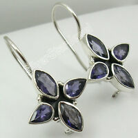 "925 Sterling Silver NATURAL IOLITE 4 STONE BEAUTIFUL STYLISH Earrings 1.2"" NEW"