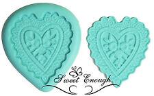 2 Piezas Crochet corazón Silicona Molde Sello Sugarcraft Cupcake Boda Decoración Molde