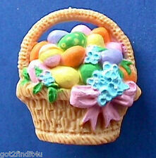 BUY1&GET1@50%~Hallmark PIN Easter BASKET of Colored EGGS & Flowers Vtg Holiday