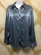 Morgan Miller Shimmery Blue Polyester Button-Down Shirt Size 16 Euc