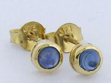 E072 GENUINE 9K 9ct Gold NATURAL Sapphire Round cabochon Bezel Stud Earrings