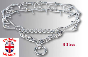 Metal Chrome Prong Collar Pinch Choke Chain Stops Pulling Dog Training 9 Sizes