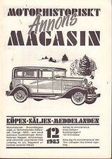 Motorhistoriskt Magasin Annons Swedish Car Magazine 12 1985 Ford 032717nonDBE