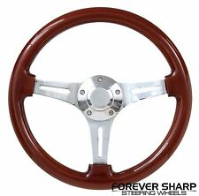75-95 JEEP CJ5 CJ7 CHEROKEE CHEVY TRUCK VAN WOOD CHROME STEERING WHEEL