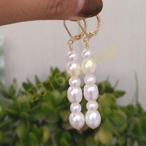 Glittering AAA long south sea white pearl earrings 14K Yellow Gold P