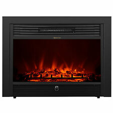"Embedded 28.5"" Electric Fireplace Insert Heater w/ Remote Glass View Log Flame"