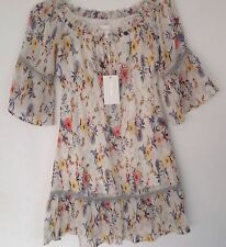 NWT Foxiedox New Ladies X-Small UK 8 Cream Gypsy Style Short Summer Dress