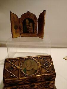 Vintage FLORENTINE Gilt RELIGIOUS ICON TRIPTYCH & Wood Gesso Box
