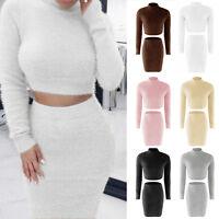 Womens Winter Warm Fluffy Sweater Jumper Bodycon Skirt Set Casual Knitwear Dress
