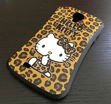 For Samsung Galaxy S4 -HARD RUBBER GUMMY SKIN CASE BROWN LEOPARD HELLO KITTY