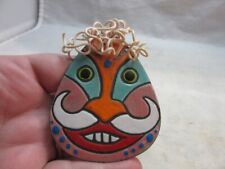 Signed Anita Silverstein Copper Enamel brooch. Funny Face. Wire hair 2