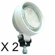TWO 91 LED ROUND RUBBER BODY FLOOD WORK DOCKING LIGHT WATERPROOF 4X4 CAMPING