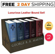 GAME OF THRONES BOX SET 5 Book LEATHER Bound Boxed George R. R. Martin COMPLETE