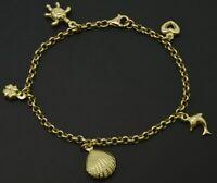 "Real 10K Yellow gold 7"" heart ocean Charm Bracelet"