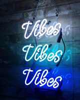 Neon Sign ''Vibes Vibes Vibes '' Wall Bar Beer Decor Light  Hand Craft Custom