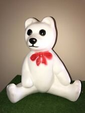 """Vintage Union 18"""" Lighted Blow Mold White Bear with Red Bow Yard Decoration"""