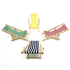 CW_ CO_ Miniature Dollhouse Fairy Garden Lounge Sand Chair Stripes Beach Chaise