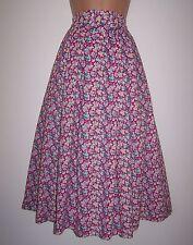 Laura Ashley vintage violet floral cotton peasant Dirndl pleated skirt size UK16