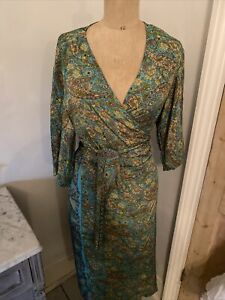 Gabrielle Parker Silk Dress size 14 Green