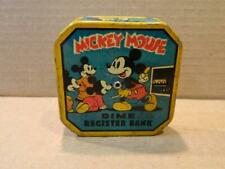 Mickey Mouse Tin Litho Pocket Dime Registering Bank c. 1939 WD Productions