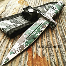 """9"""" Double Edge Military Camo Tactical Hunting Dagger Boot Knife Throwing Blade"""
