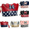 Cute MINNIE MICKEY MOUSE Polka Dots Travel Case Clutch Bag Handbag Cosmetic Bag