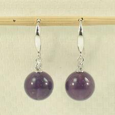 14k Solid White Gold Sparkling Diamond Genuine Purple Amethyst Hook Earring TPJ