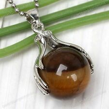 Natural Tigers Eye Stone Hand Palm Wrap Round Ball Healing Bead Charm Pendant
