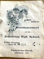 1896 IOWA: ARMSTRONG HIGH SCHOOL antique graduation program COMMENCEMENT 1st one