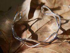 Continuous Wave Bangle Fine Solid Sterling Silver New Jewelry Shipping Included