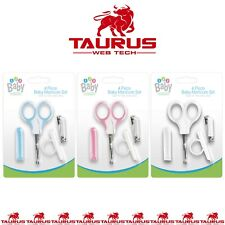 4x Pcs BABY MANICURE SET Nail Clippers Safety Scissors File Cover 0+M Toddler UK