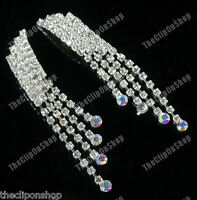 CLIP ON diamante CRYSTAL rhinestone 80s RETRO long GLAM DROP EARRINGS sparkly
